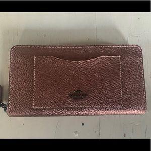 New, Metallic Rose Gold Coach Wallet